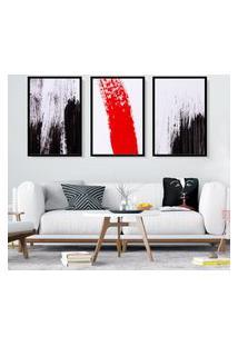 Quadro 60X120Cm Estilo Pinceladas Preto Vermelho Decorativo Com Vidro