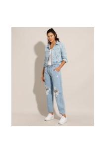 Calça Baggy Jeans Destroyed Com Pregas Cintura Média Sawary Azul Claro