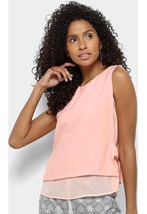 Regata Lily Fashion Detalhe Lateral Feminina - Feminino-Rosa