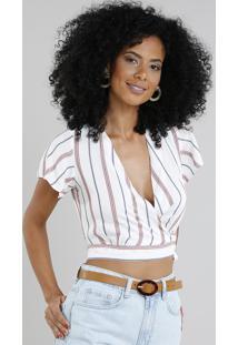 Blusa Feminina Cropped Transpassada Listrada Manga Curta Decote V Branca