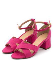 Sandália Trançada Salto Grosso Médio Em Camurça Rosa Pink
