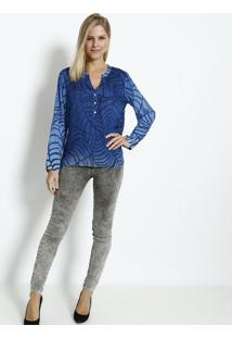 Blusa Com Botãµes & Seda - Azul Escuro & Azul Claro -Vip Reserva