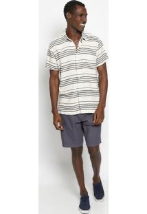 Camisa Listrada Com Linho - Off White & Pretaosklen