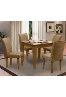 Sala De Jantar Saint Michel Com 4 Cadeiras – Dobuê Movelaria - Mell / Bege / Kaki