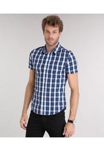 Camisa Masculina Slim Xadrez Manga Curta Azul Marinho