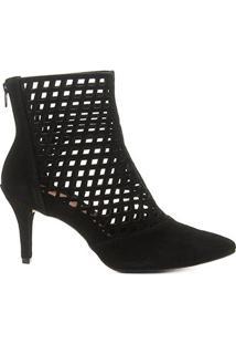Bota Cano Curto Shoestock Salto Fino Vazada Feminina - Feminino-Preto