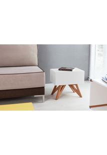 Mesa De Canto - Mesa Lateral Sofá Colorida Branca Design Moderno E Retrô Freddie - 46,6X34,1X45,2 Cm