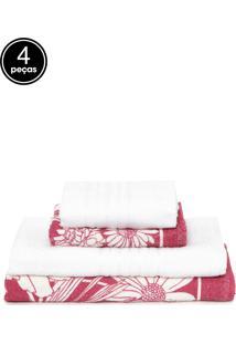Jogo De Banho 4Pçs Teka Danúbio Branco/Rosa
