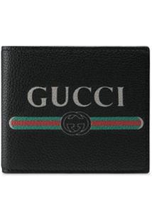 Gucci Carteira De Couro Com Estampa 'Gucci' - Preto