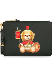 Moschino Clutch Teddy Bear Com Logo - Preto