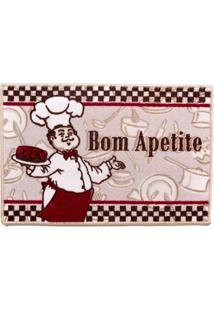 Tapete De Cozinha 60Cm X 40Cm Gourmet Attuale Cozinheiros Bege Corttex