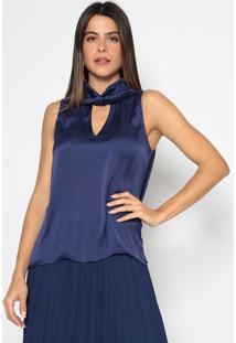 Blusa Acetinada Com Amarraã§Ã£O- Azul Marinhoenna