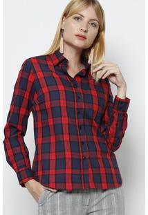 c6449707f8 ... Camisa Xadrez Com Bolso Frontal- Vermelha   Azul Marinhovip Reserva