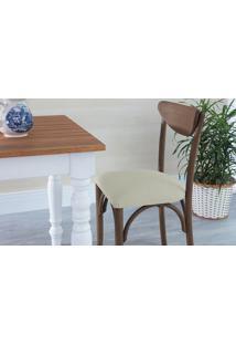 Cadeira Cozinha Estofada Amélie - Stain Nogueira - Tec.924 Off White - 44,5X45X81 Cm