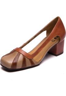 Sapato De Couro - Taupe / Jatobá / Nude - Brenda Le 7316