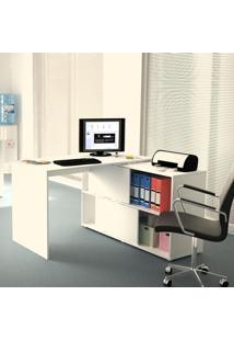 Mesa De Escritório Em L Mingle Branco Fosco