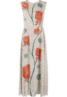 Chloé Vestido De Crepe Com Estampa De Tulipa - Neutro