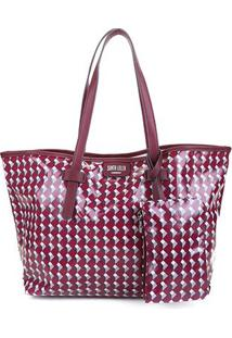 Bolsa Santa Lolla Shopper Coated Cubos Feminina - Feminino-Bordô