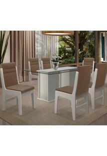 Conjunto Mesa Com 6 Cadeiras - Amsterdam - Dobuê - Branco / Castor