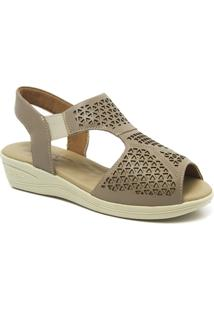 Sandália Feminina Anabela 186 Em Couro Doctor Shoes - Feminino-Bege