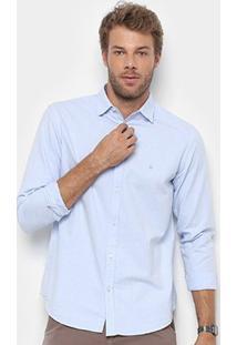 Camisa Foxton Manga Longa Oxford Masculina - Masculino-Azul