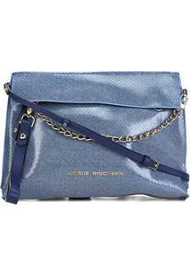 Bolsa Couro Jorge Bischoff Jeans Corrente Feminina - Feminino-Azul