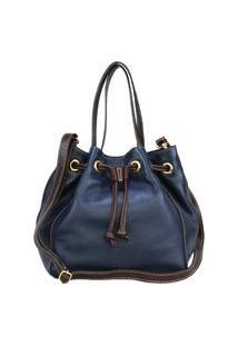 Bolsa Sn Couros Nice Azul/Marrom