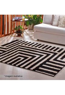 Tapete Com Estampa Geométrica Art- Bege & Preto- 250Oasis
