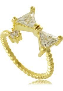 Anel De Laã§O Com Ponto De Luz Em Zircã´Nia 3Rs Semijoias Dourado - Dourado - Feminino - Dafiti