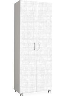 Armário Multiuso Com 4 Prateleiras E Suporte Para Vassouras, Branco E Linho Branco, Vision