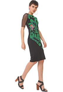 Vestido Desigual Midi Brooklyn Preto/Verde