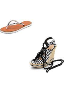 Kit Sandã¡Lia Anabela Salto Alto Em Sintã©Tico Zebra E Chinela Feminina Rasteira - Zebra - Feminino - Dafiti