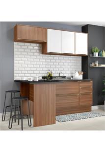 Cozinha Completa Multimã³Veis Com 5 Peã§As Calã¡Bria 5460R Nogueira/Branco Marrom - Marrom - Dafiti