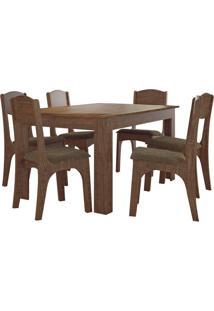 Mesa Externa Retangular Tm22 Com 6 Cadeiras Rústico