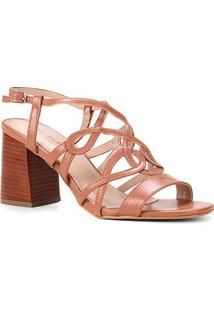 Sandália Shoestock Courotiras Entrelaçadas Salto Bloco Alto - Feminino-Marrom