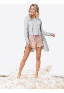 Pijama Curto Com Robe Malwee Liberta