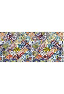 Tapete Transfer Arabescos- Azul & Amarelo- 90X40Cm