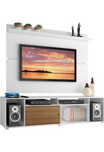 Rack Madesa Cancun E Painel Para Tv Atã© 65 Polegadas - Branco/Rustic/Branco Branco - Branco - Dafiti