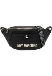 Love Moschino Pochete Granulada Com Placa De Logo - Preto