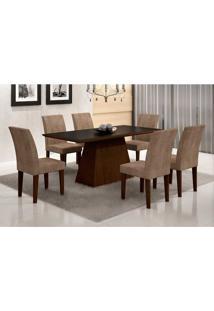 Conjunto De Mesa Luna Com 6 Cadeiras Grécia Castor Preto Com Animalle Chocolate