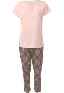 Pijama Pzama Estampado Rosa