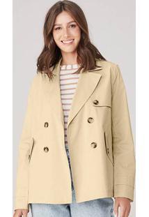 Casaco Trench Coat Em Alfaiataria De Sarja