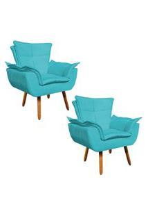 Kit 02 Poltrona Decorativa Opala Suede Azul Turquesa - D'Rossi.
