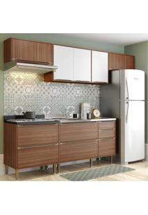 Cozinha Completa Multimóveis Com 5 Peças Calábria 5456 Nogueira/Branco Marrom