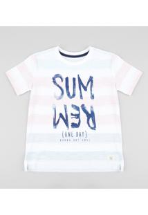 "Camiseta Infantil Listrada ""Summer"" Manga Curta Gola Careca Branca"
