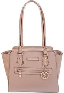 Bolsa Texturizada Com Bag Charm- Bege Claro- 28X29X1Fellipe Krein
