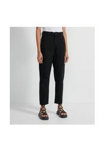 Calça Mom Em Jeans Com Elástico Na Cintura   Blue Steel   Preto   36