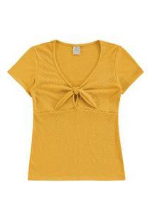 Blusa Lecimar Em Malha Anarruga Alto Verão Amarelo