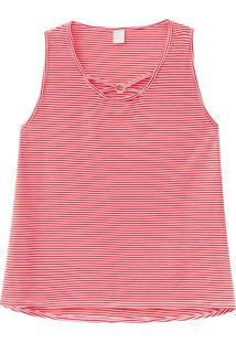 Blusa Lecimar Plus Em Meia Malha Alto Verão Listrada G3 Vermelho