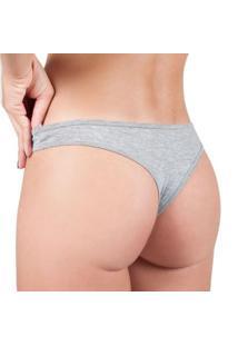 Calcinha Part. B Conforto Algodão Modelo Tanga - Feminino-Cinza